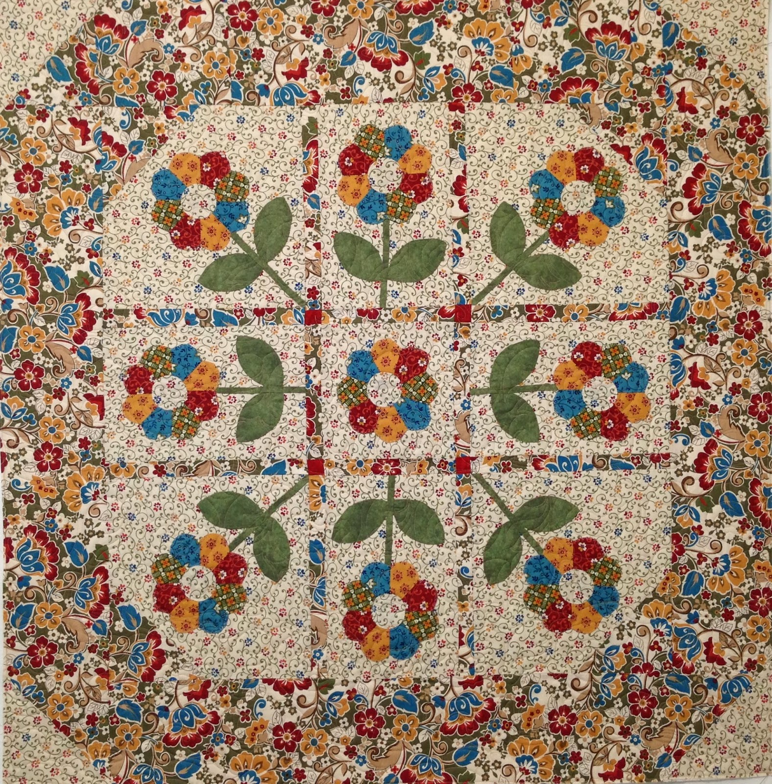 Shirley Martin Appliqued Flower Quilt