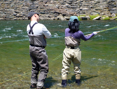 Andrew Moy and Flygirl Hyun Kounne spey casting on the Beaverkill river, NY