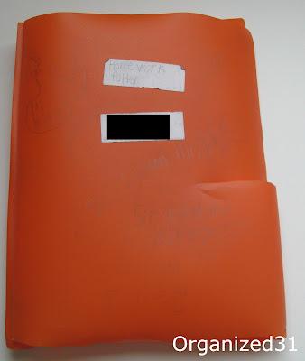 orange plastic folder