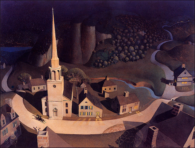 """The Midnight Ride of Paul Revere"" Grant Wood (1931) Autumn fine art New England town miniature perspective"