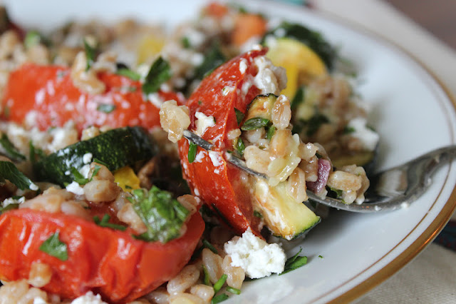 Food For The Fresh: Summer Farro Salad w/ Roasted Vegetables, Herbs ...
