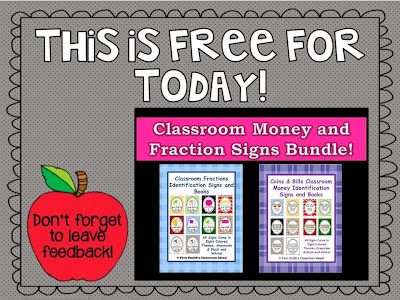 http://www.teacherspayteachers.com/Product/Fraction-and-Money-Identification-Signs-and-Books-for-Your-Classroom-554936