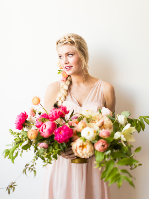 Flamingo Pop. A bridal collaboration with BHLDN and The House That Lars Built. Dress by BHLDN. Hair by Jessie M. Flowers by Ashley Beyer of Tinge Floral. Photo by Jessica Peterson.