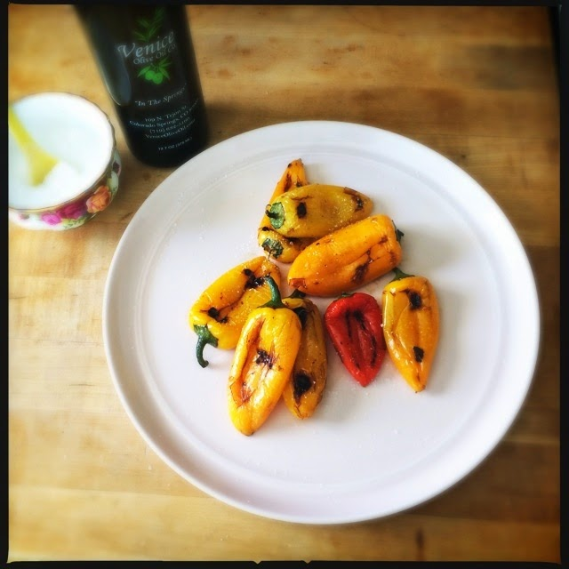 Roasted sweet mini peppers, delicious! Perfect side or summer snack! The Graffitied Gardenia