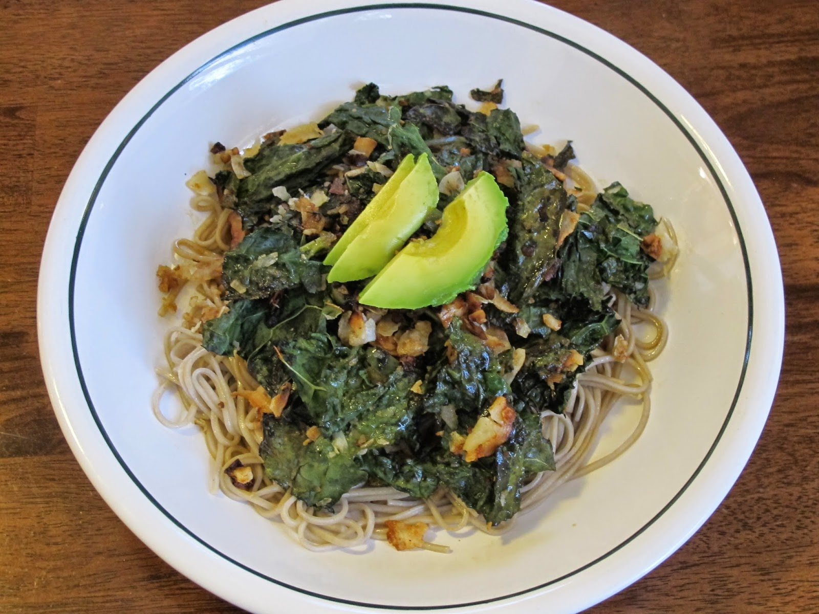 Soba Noodles with Roasted Crispy Kale, Coconut, and Avocado