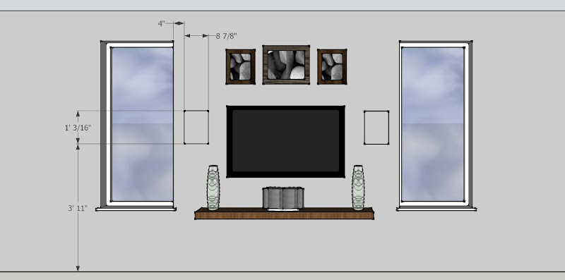 Floating Wall Shelves above TV
