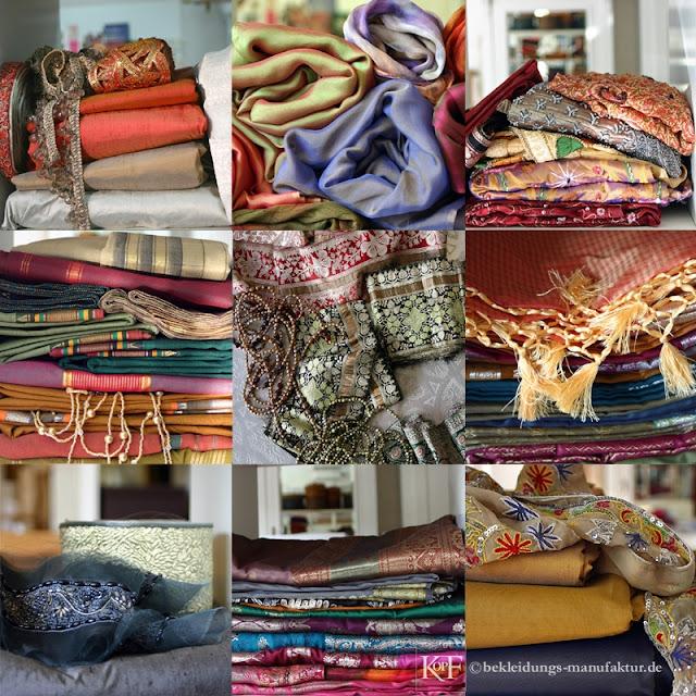 Bekleidungs-Manufaktur,Atelier-Werkstatt,Saris,Seiden,Perlen,Borten,Stickereien