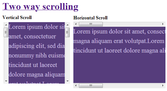 Two way scrolling in single div