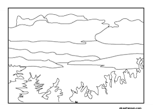 lake coloring page - adult coloring books designs lake scene coloring page