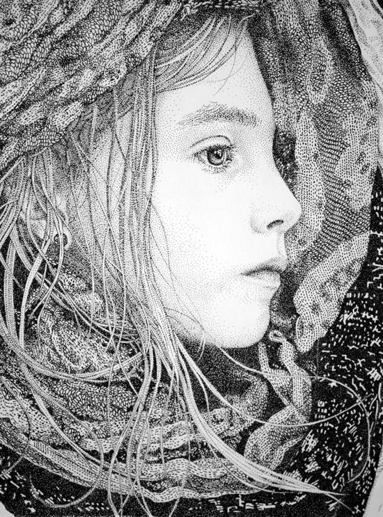 Pointillism technique by Pablo Jurado Ruiz in his Nomad II series