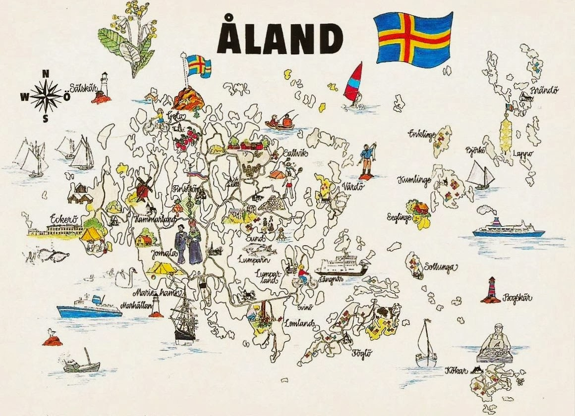 Postcards on My Wall Map of land Islands
