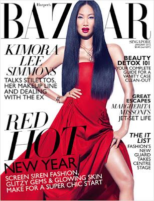 Kimora Lee Simmons en couv' d'Harper's Bazaar Singapour