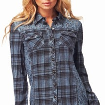 Affliction Plaid And Lace