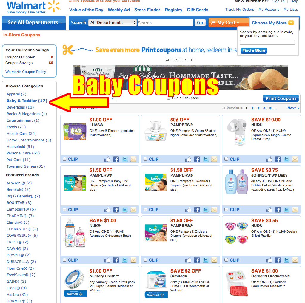 Baby and Toddler Coupons you can use at Walmart