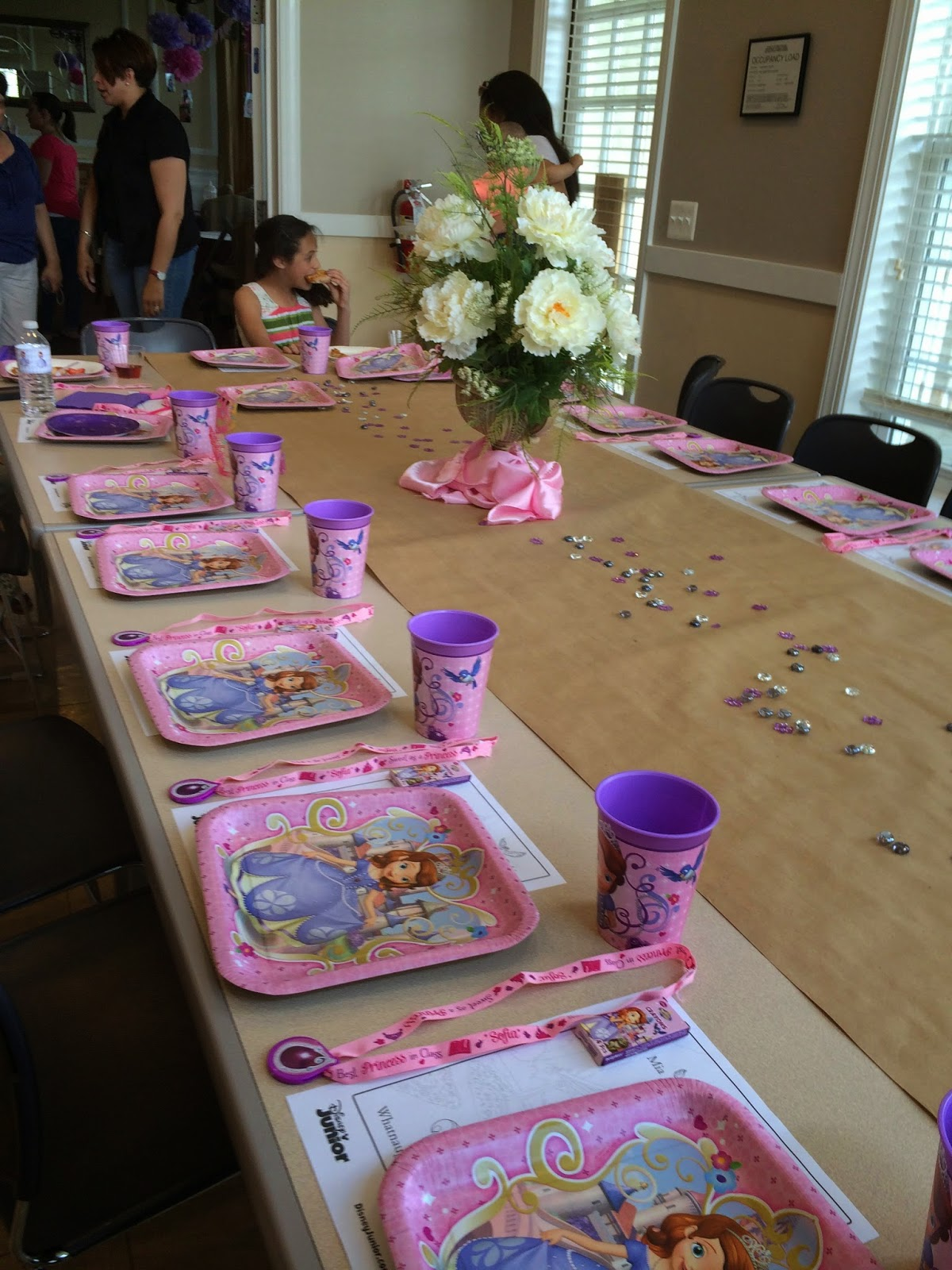 The Table Was Set With Coloring Pages Sofia First Crayons Amulets Plastic Cups And Well Wipeable Surfaces Lol