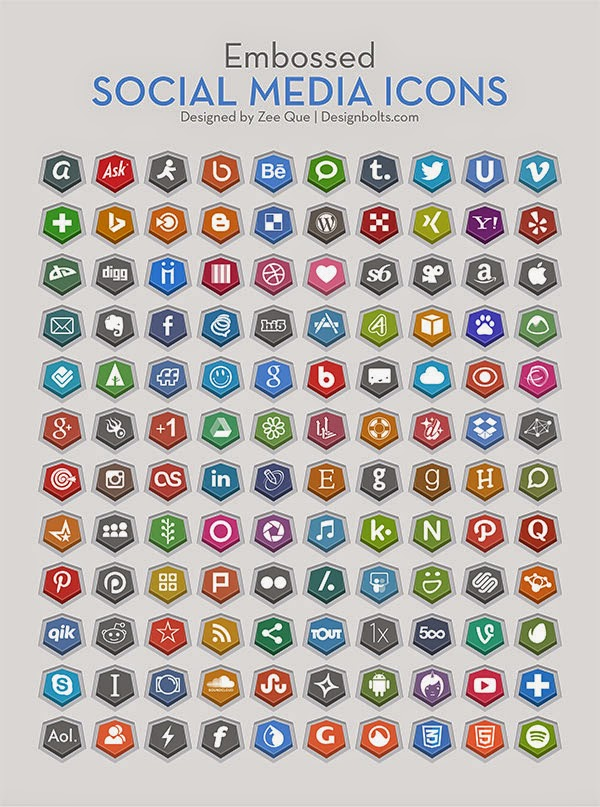 Embossed Social Media Icons