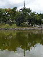 曇天だが猿沢の池に映る五重の塔