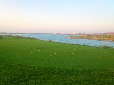 The 17th hole at the Yas Island Links Golf Course