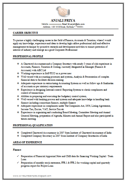 free download link for excellent work experience chartered accountant resume sample doc - Good Resume Formats For Experienced