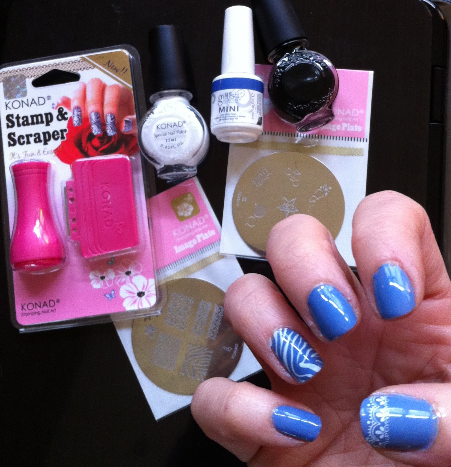 Gelish: Up In The Blue & Stamping Nail Art