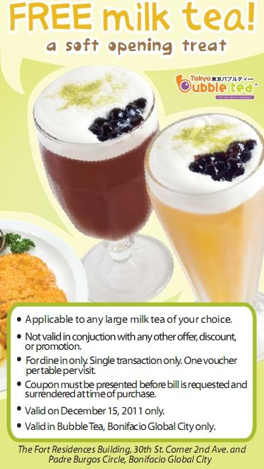 Bubble tea discount coupons
