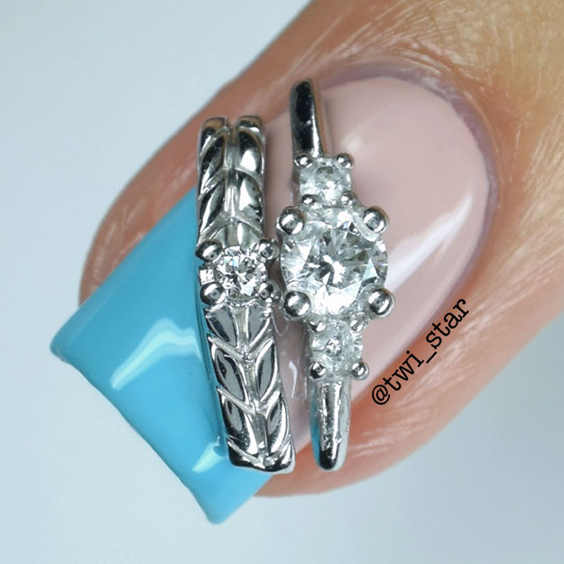 Something Blue wedding mani featuring James Allen Ring nail charms