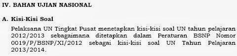 Peraturan BSNP NOMOR 0022-P-BSNP-XI-2013 bag Kisi-kisi UN 2014
