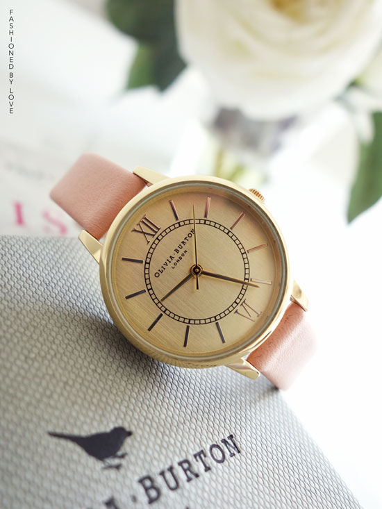 Olivia Burton Wonderland dusty pink & gold vintage style midi dial watch | via Fashioned by Love