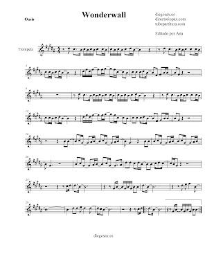 Partitura Wonderwall de Oasis para TROMPETA y Fliscorno en Si bemol sheet music fot Trumpet and Flugelhorn