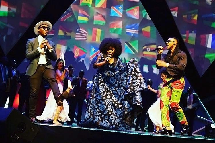 Check Out Flavour's Outfit As Singer Performed At Glo CAF Award Last Night (Photos)