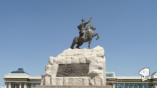 Status of Sukhbaatar at Chinggis Khaan Square - side view