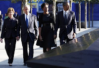 US President Barack Obama and first lady Michelle Obama are joined by former President George W. Bush and his wife Laura Bush during ceremonies marking the 10th anniversary of the 9/11 attacks.