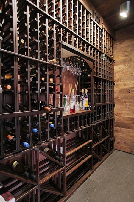 Wine cellar in Modern Beverly Hills House with open interiors