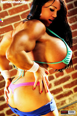 female muscle and breast expansion