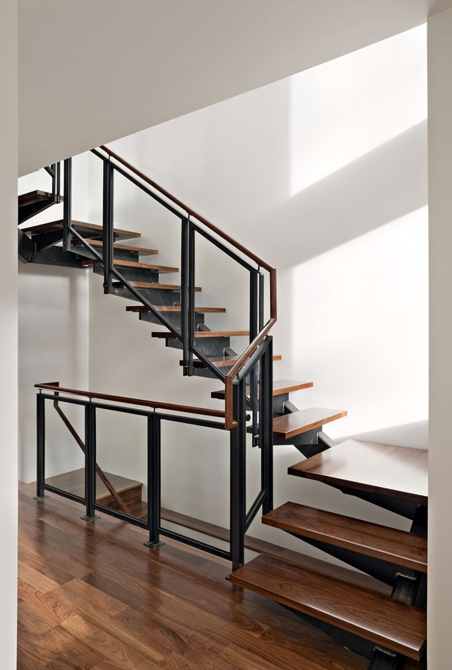 Steel wood and glass staircase