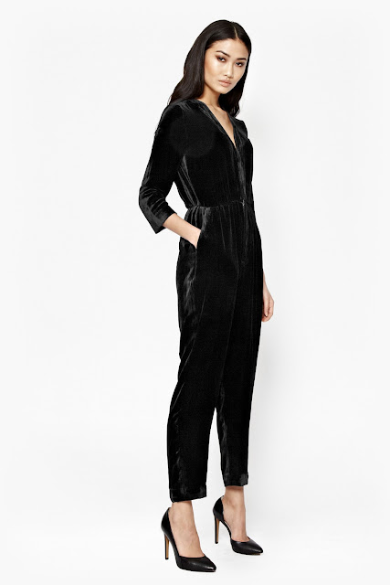 black velvet jumpsuit, french connection velvet jumpsuit,