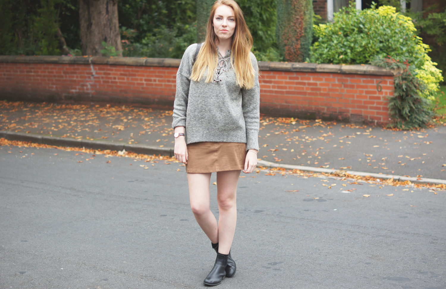 lace up grey jumper