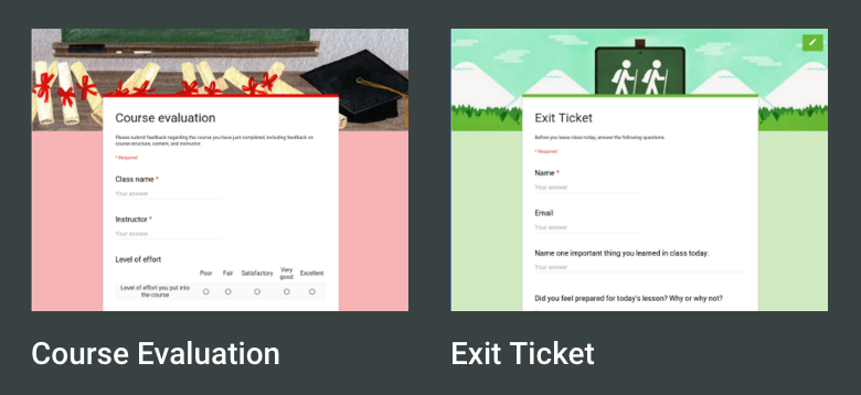 Use Google Form Templates for Exit Tickets Course Evals