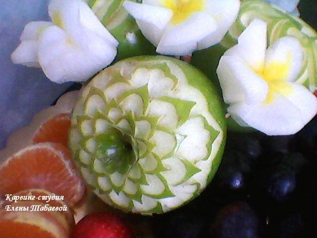 карвинг по яблокам для фруктовых нарезок