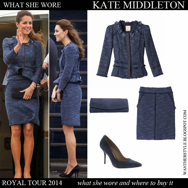 Kate Middleton in blue tweed jacket, blue tweed mini skirt Rebecca Taylor, blue pumps with blue clutch Stuart Weitzman Royal Tour 2014 Want Her Style