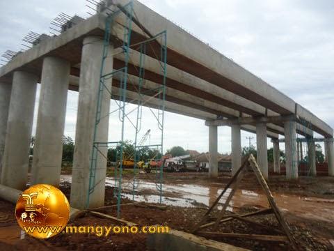 Kondisi Jembatan proyek perlintasan toll Cipali di kampung Balingbing