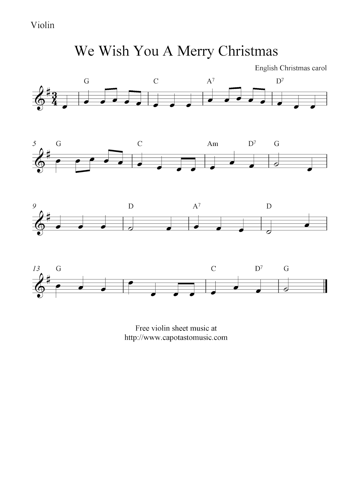 Free Sheet Music Scores: We Wish You A Merry Christmas, free Christmas ...