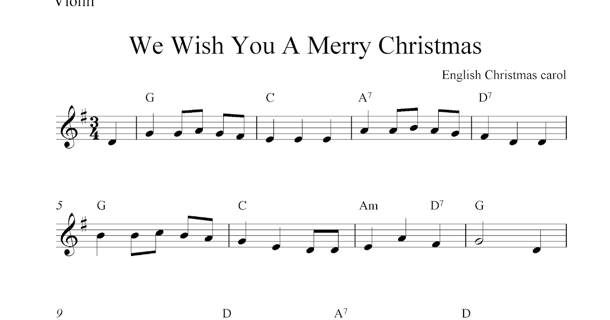 We Wish You A Merry Christmas, free Christmas violin sheet music notes