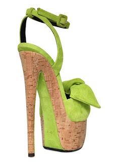 Giuseppe Zanotti green Suede Cork Bow Sandals