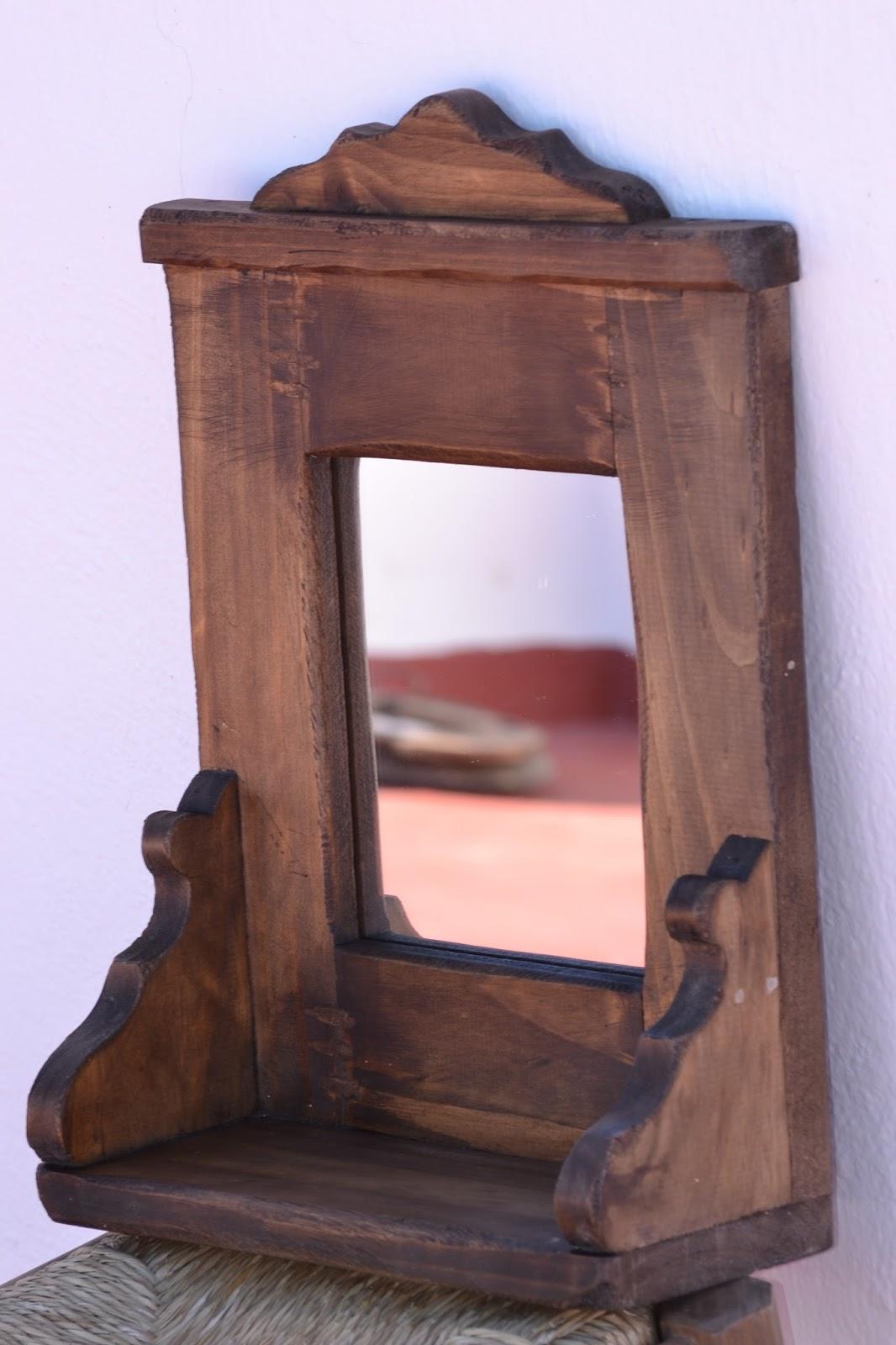 Artesan a r stica en madera marco de madera rustico con for Marcos para espejos de madera rusticos