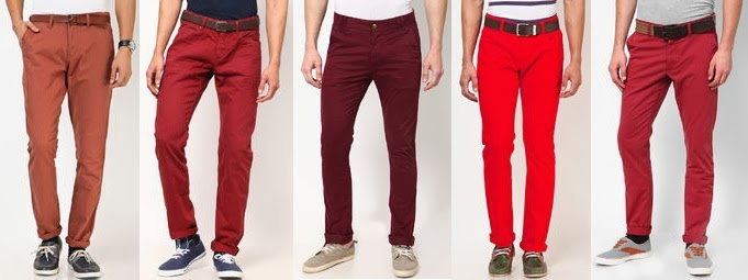 Red casual trousers for men