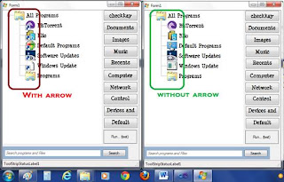 icon with and without arrow in shortcut in treeview