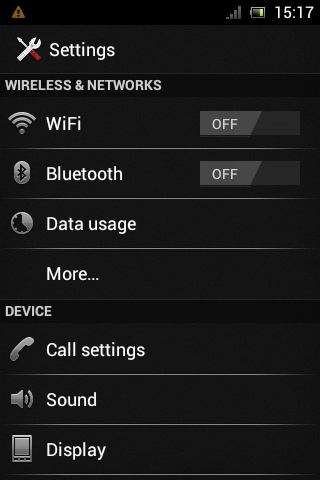 Ice Cream Sandwich Xperia Mini Pro Settings Screen