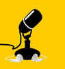 Podcast icon, black microphone against yellow background