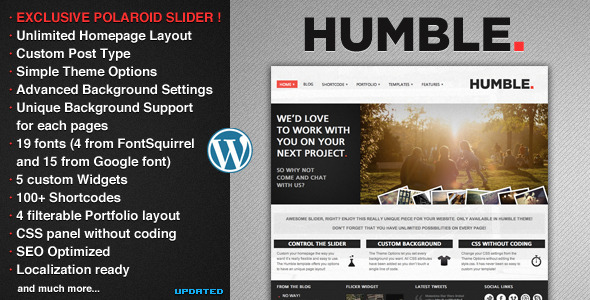 Humble WordPress Theme Free Download by ThemeForest.